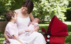 Mother with children on park bench (Photo by Thinkstock)