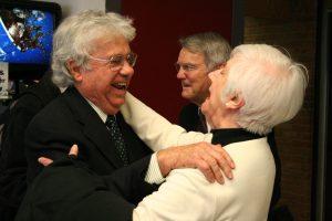 M. Kent Jennings greets Anne Barnes
