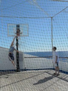 Brady West dunks the ball on a cruise ship to the Caribbean last year with his wife's family. Photo courtesy of Brady West.