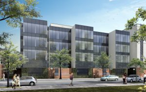 Rendering of the ISR-Thompson building addition, facing Division Street