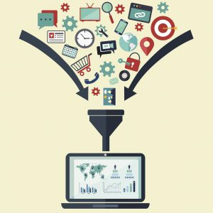 Icons representing personal and business data being fed into a funnel above a computer with graphs on the screen - representing 'big data.'