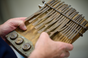 "The Sarkisians donated a number of African instruments, including this ""thumb piano"" to the U-M Stearns Collection of Musical instruments. Photo by Jeff Smith/UMSI."