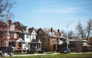 Detroit, Michigan, USA - street of east side Detroit neighborhood.