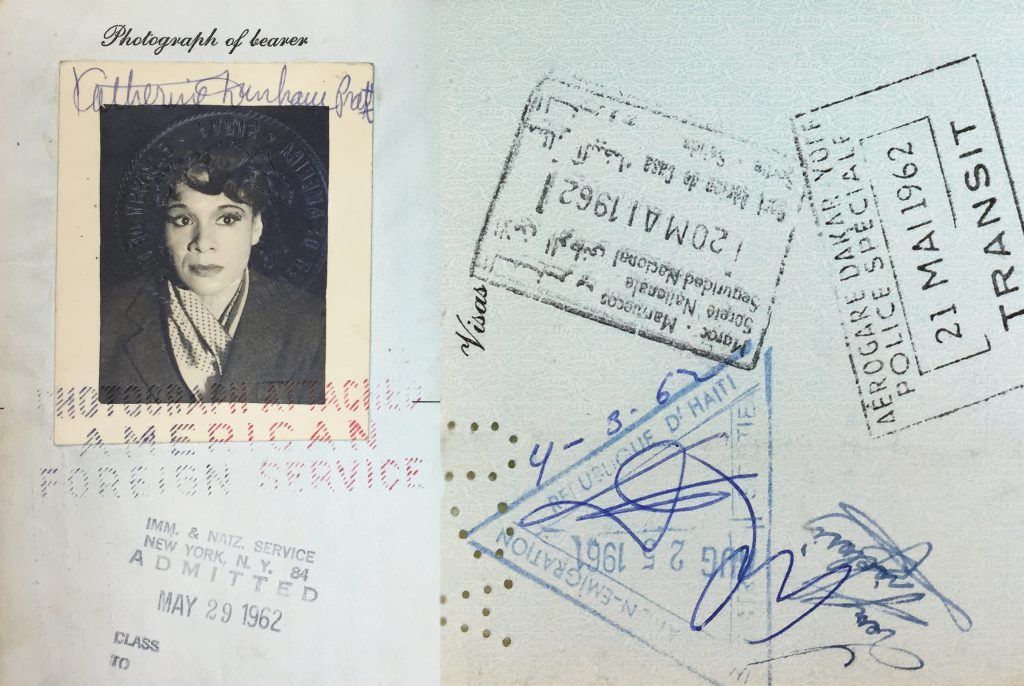 Two pages from Dunham's 1960s passport.