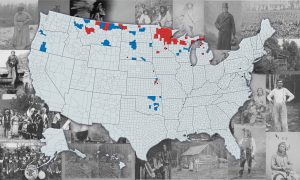 Census Map of Anishinaabe populations in 1930. US map with highlighted sections overlaying photos of Native people