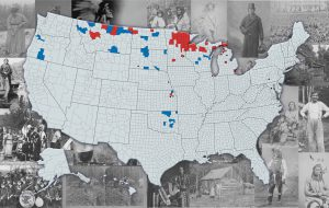 US map with highlighted sections overlaying photos of Native people