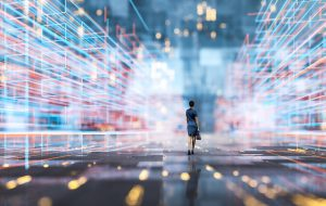 Image of Futuristic city VR wire frame with businesswoman walking.
