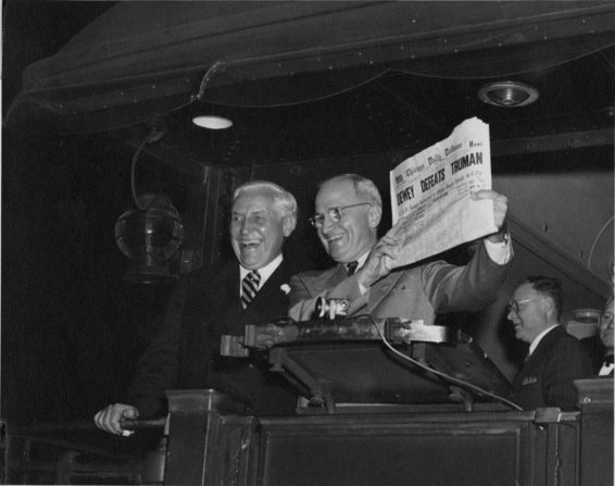Postmaster Bernard Dickmann stands next to newly elected President Harry S. Truman at St. Louis Union Station