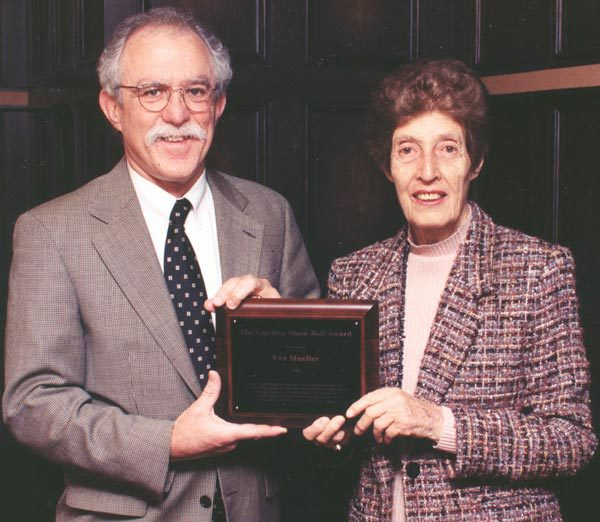 David Lam and Eva Mueller with Eva Mueller's Carolyn Shaw Bell Award in 2001